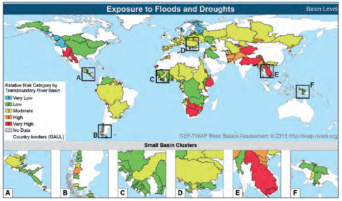 Map of flood and drought exposure in transboundary river basins