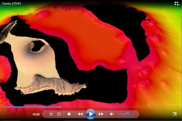 An animation created by Vicki Ferrini of the Lamont-Doherty Earth Observatory of the topography of a new island formed by an explosive volcano in the southwestern Pacific.