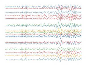 """ One Trace, Two Trace, Red Trace, Blue Trace"", by DEES graduate student Natalie Accardo. This image depicts seismic traces recorded on seismometers in Malawi and Tanzania from an earthquake on September 13, 2015 that occurred in Southern California."