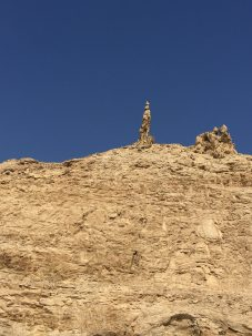 Lot's Wife in Jordan. According to biblical accounts, Lot's wife was turned into a pillar of salt for watching the destruction of Sodom and Gomorrah. Photo: Josh Fisher