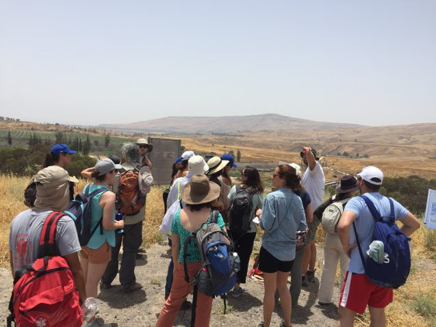 Students from Columbia University and Tel Aviv University touring the grounds of the Al Baqoura Peace Park with representatives of Eco Peace. Photo: Josh Fisher