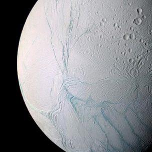 Saturn's moon Enceladus, as viewed by the Cassini spacecraft. Image: NASA