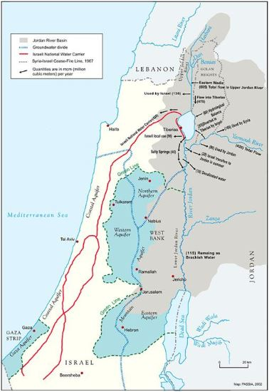 Map of the Jordan River Basin. (Click to view the related paper, a pdf.)