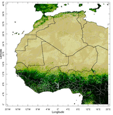 Map showing vegetation in West Africa, based on MODIS satellite images