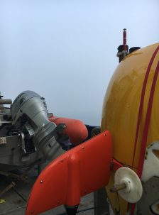 The autonomous underwater vehicle (AUV) Sentry in the morning fog. Photo: Bridgit Boulahanis