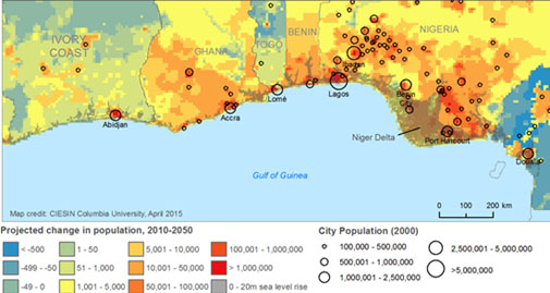 Map showing projected change in population, 2010-2050 West Africa