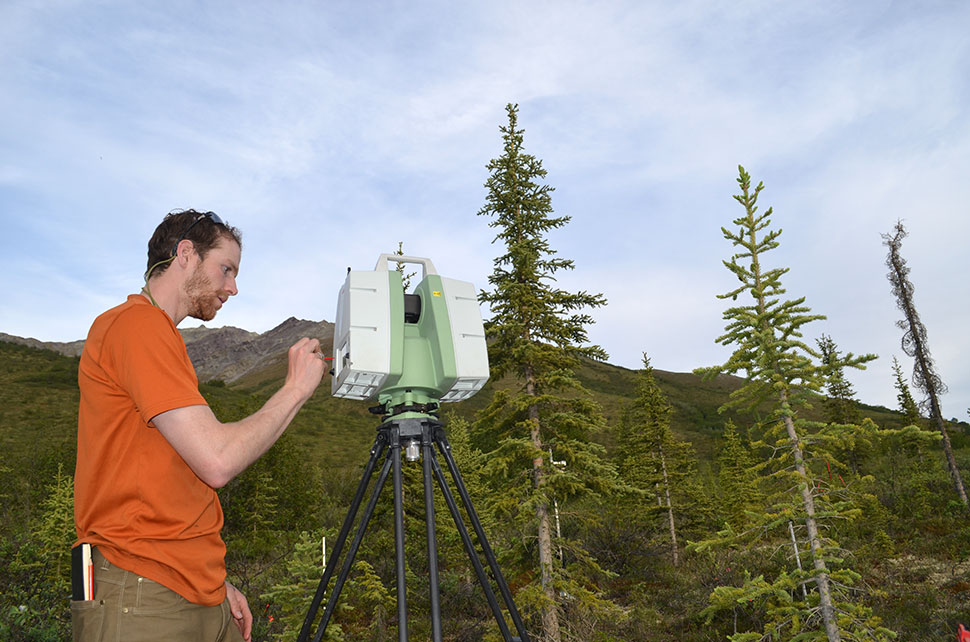 University of Idaho grad student Andy Maguire programs the LiDAR. In cooperation with NASA, the scientists will combine their painstaking ground observations with large-scale satellite imagery to paint a picture of how the north is changing.