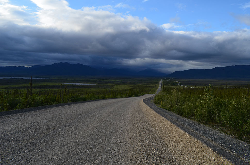 This region is reached via the Dalton Highway, one of the few North American roads that reach this far. Built in the 1970s to serve the arctic-coast oil fields, it ends more than 500 miles beyond Fairbanks, the nearest city. The Alaska pipeline, which channels oil southward, parallels the road to the right.