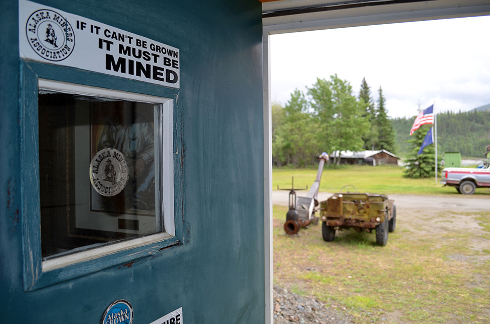 Oil and mining are pillars of Alaska's economy, and most residents support more development. One Wiseman doorway is testimony.