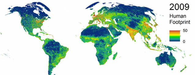 Intensity of human land occupation, 2009. Red is greatest; blue least. (Venter et al., 2016)