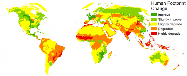 Change in footprint 1993-2009. Hotter colors indicate more change. Greens indicate decrease. (Venter et al., 2016)