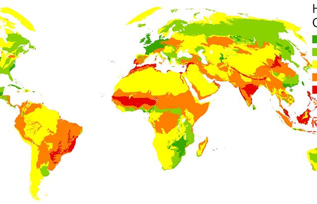 Change in footprint 1993-2009. Hotter colors indicate more change. Greens indicate decrease. (Venter et al., 2016)