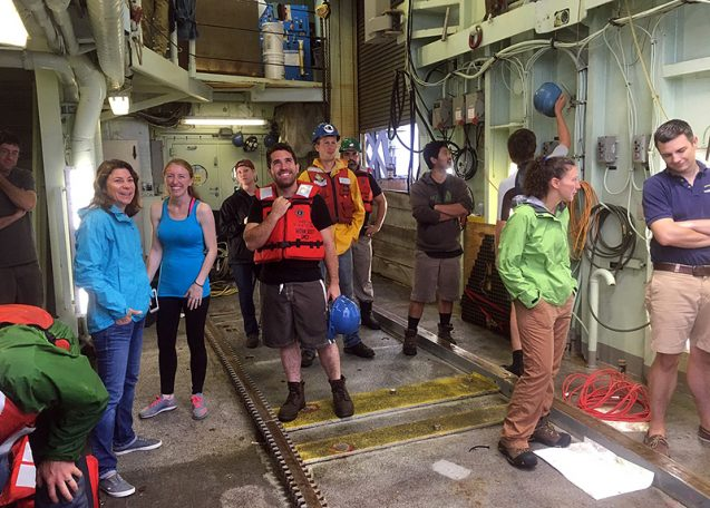 Rose Dufour talks with early career scientists and crew members. Photo courtesy of Dan Fornari