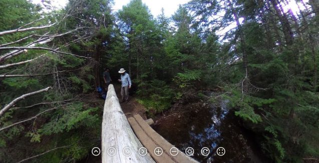To reach the source of the Hudson River, Andy Juhl and Greg O'Mullan hiked for two days in the Adirondacks, crossing Hudson River tributaries like Herbert Brook on the way. Click to see the 360 video. Photo: Andy Juhl/Lamont-Doherty Earth Observatory