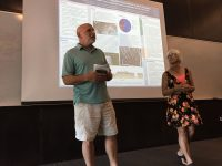 Bob Newton, winner of Lamont-Doherty Earth Observatory's 2016 Excellence in Mentoring Award, joins Susan Vincent in introducing student presentations from the Secondary School Field Research Program.