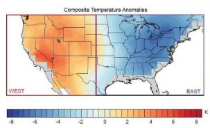 Near surface temperature anomalies for winter dipole events occurring between 1980 and 2015. From Singh, et al., 2016