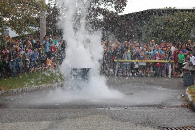 We also put ping pong balls to the test to show the hurling power of volcanoes. Definitely an Open House fan favorite.