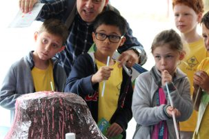 Future scientists in the Lamont Open House crowd got to create human-powered volcanic eruptions, too.
