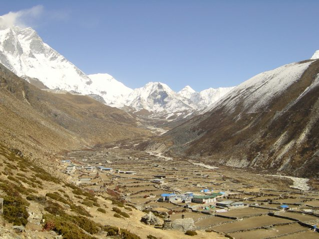 Villages like this one in the valleys below Imja Tse in Nepal face a constant risk of glacial lake outburst floods. Photo: jarikir/Flickr