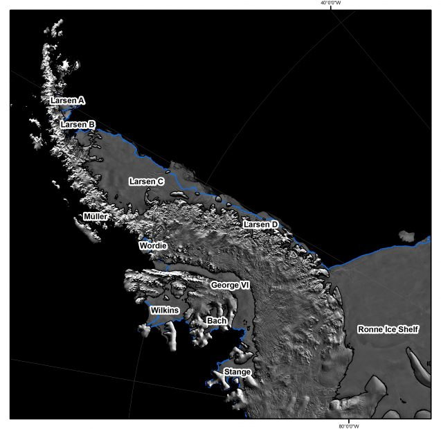 Antarctic Peninsula ice shelves located on MODIS satellite imagery. (Source: AntarcticGlaciers.org)
