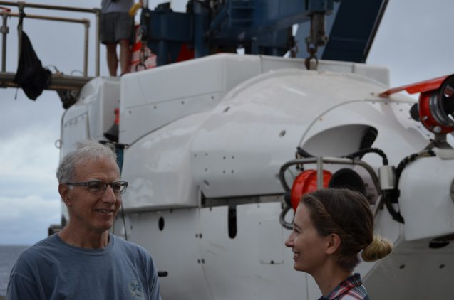Bridgit Boulahanis and Mike Perfit prepare for their dive to the seamount. Photo courtesy of Dan Fornari.