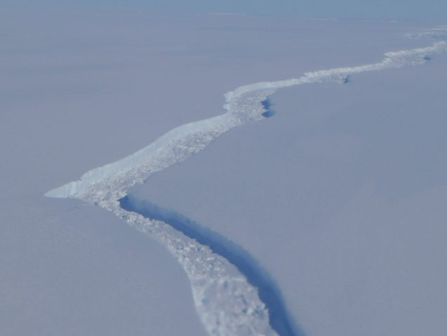 Crack in the Larsen C Ice Shelf that continues to spread, even in the winter months. (Photo M. Turrin)