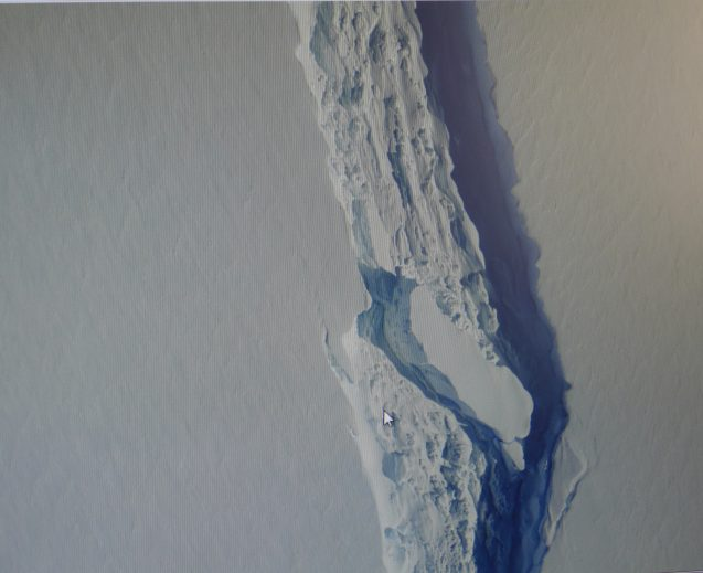 Section of the deep crack in the Larsen C ice shelf. (Digital Mapping System from the IceBridge Project.)
