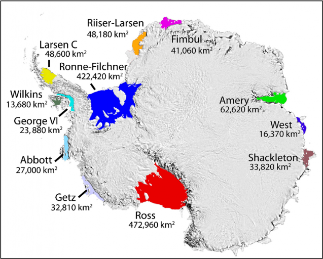 Image noting the location of some of the larger ice shelves around Antarctica (Image T. Scambos NSIDC)