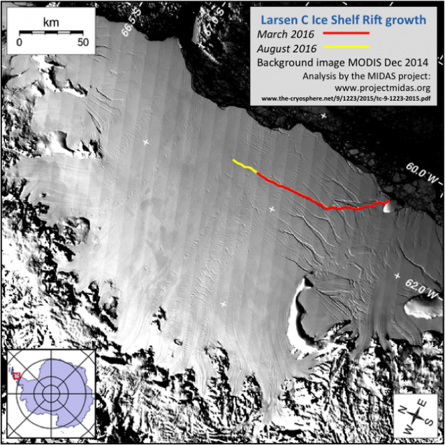 Larsen C and the crack that has developed mapped through time. (Modis imagery annotated by the MIDAS project.)