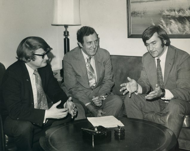 From left, Leon Billings, Edmund Muskie and Tom Jorling.