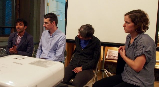 From left: Nandan Shetty, Walter Yerk, Sarah Bruner and Suzanne Lipton respond to questions about bioswales at a lecture sponsored by the Gowanus Canal Conservancy. Photo: Emily Mei Lau