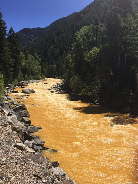 The Animas River between Silverton and Durango in Colorado, USA, within 24 hours of the 2015 Gold King Mine waste water spill. Photo: Riverhugger/Creative Commons