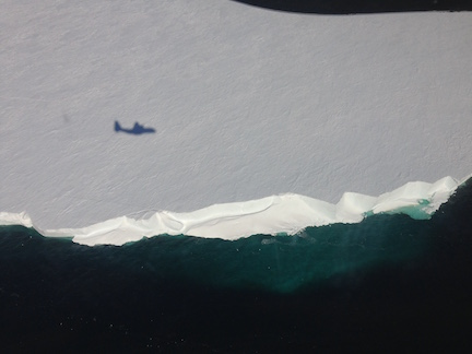 Alamo dropped, mission complete! An image of the shadow of the LC130 as it flies across the Ross Ice Shelf. (Photo by Fabio)