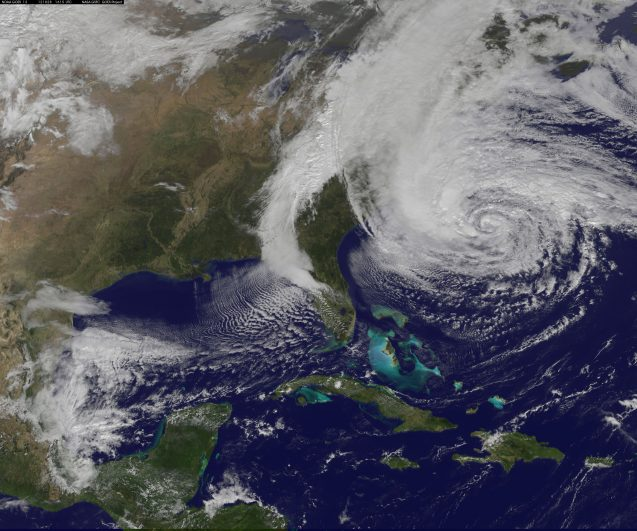 NASA satellites monitor Superstorm Sandy as it intensifies. Photo: NASA