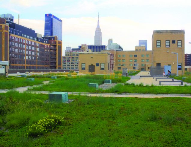 Urban Design Lab/ Photo: Robert Elliott. Multi-year monitoring on the 2.5 acre green roof atop the USPS Morgan facility in midtown Manhattan has helped to reveal and define their ability to capture stormwater and reduce temperature.