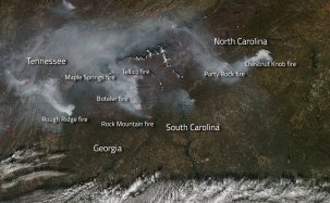 NASA monitors fires in the southeast. Photo: NASA