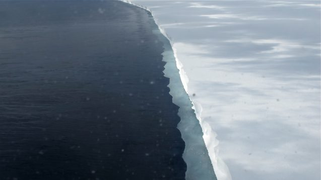 The edge of the Ross Ice Shelf, viewed from an airplane. Photo: Jim Yungel/NASA