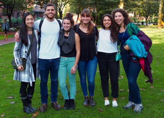 At Pratt Institute during a site visit, from left: Emily Lau, David Bigio, Katie Homa, Jenny Olsen, Tara Mohtadi and Zoe Berg.