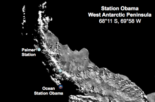 Ocean Station Obama, off the West Antarctic Peninsula. Courtesy of Hugh Ducklow