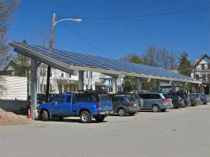 Solar parking cover in Burlington, VT, which has gone 100% renewable energy. Photo: DonShall