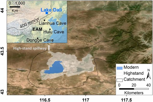 Modern and highstand extent and catchment of Lake Dali. Inset shows extent of the East Asia monsoon and the location of Lake Dali and Lianhua, Hulu and Dongge caves. Climate records from the caves were used in the study. Graphic: Goldsmith et al., PNAS 2017