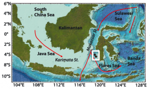 Location of Linsley et al.'s study sites in the Makassar Strait in relation to water depth and general flow vectors for the Indonesian Throughflow. Graphic: Linsley et al., Geophyscial Research Letters 2017.