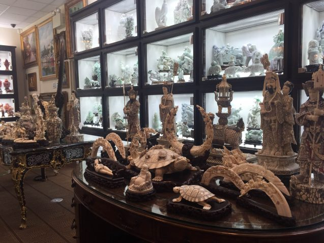 Ivory figurines in the shop.