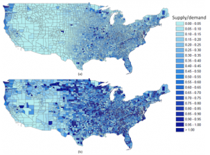Average annual county supply/demand using two methods to estimate rooftop area: (a) number of households in each county multiplied by an estimated average rooftop area, and (b) with a linear regression. (Click on image for larger version.)