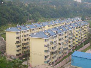 Solar water heaters on rooftops in Tieshan