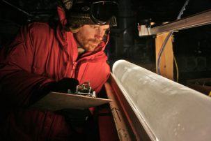 Ice core in West Antarctic Photo: Oregon State University
