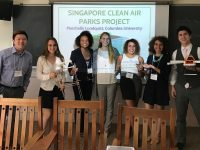 "Students in the ""Challenges of Sustainable Development"" course presented their solutions for the problem of air pollution and haze in Singapore at Bard College's Third Annual Asia and the Environment Research Conference. From left: instructor Jason Wong, Annie Block, Chelsea Jean-Michel, Marchelle Lundquist, Elsie Platzer, Francesca Merrick and Bennett Smith."