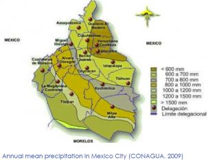 Precipitation varies greatly from north to south within Mexico City.