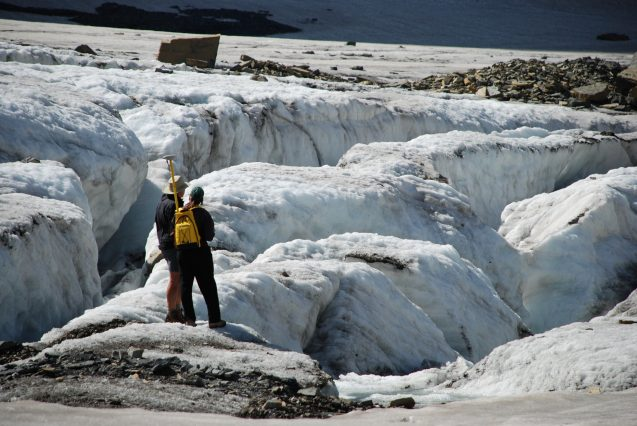 Scientists studying glaciers in Glacier National Park. Photo: GlacierNPS
