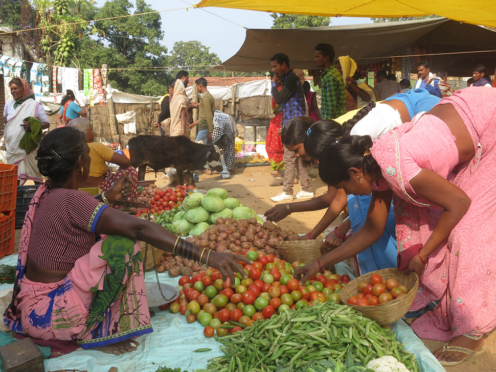 Access to markets seems to be one factor in whether resettled people prosper; the closer you are, the easier it is to sell produce. Here, the weekly market in the town of Mocha, just outside the park gate.